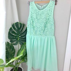 Chiffon mint green dress